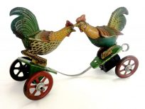 Tin Litho Wind Up Fighting Cocks
